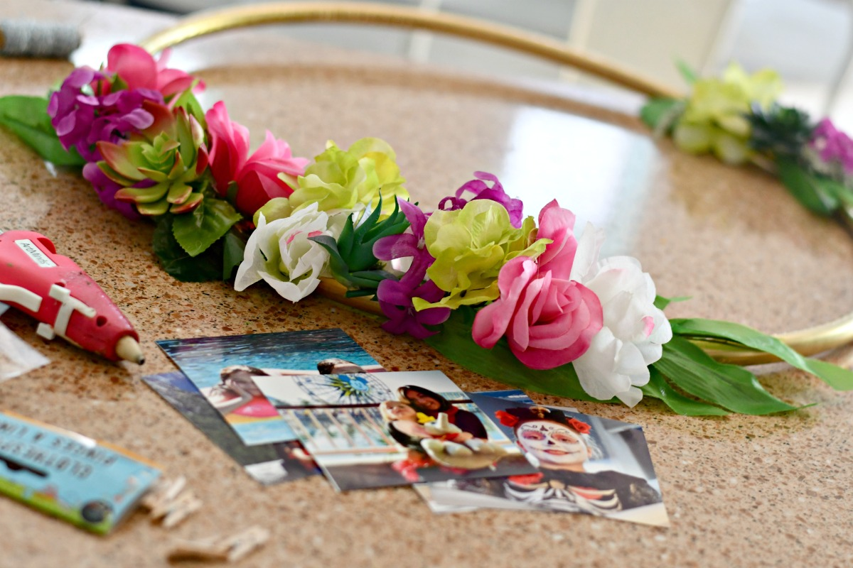 hula hoop photo frame next to pictures to include