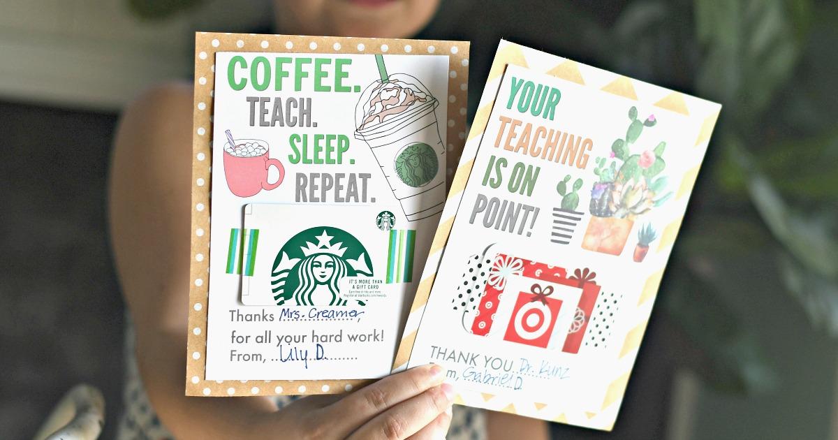 starbucks and target free printable gift card holders for teachers