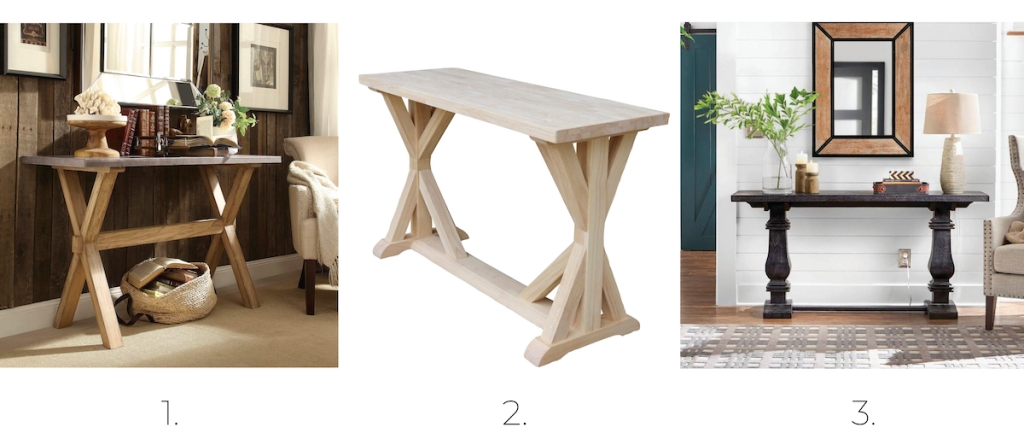 three stock photos of wood farmhouse console tables styled in homes