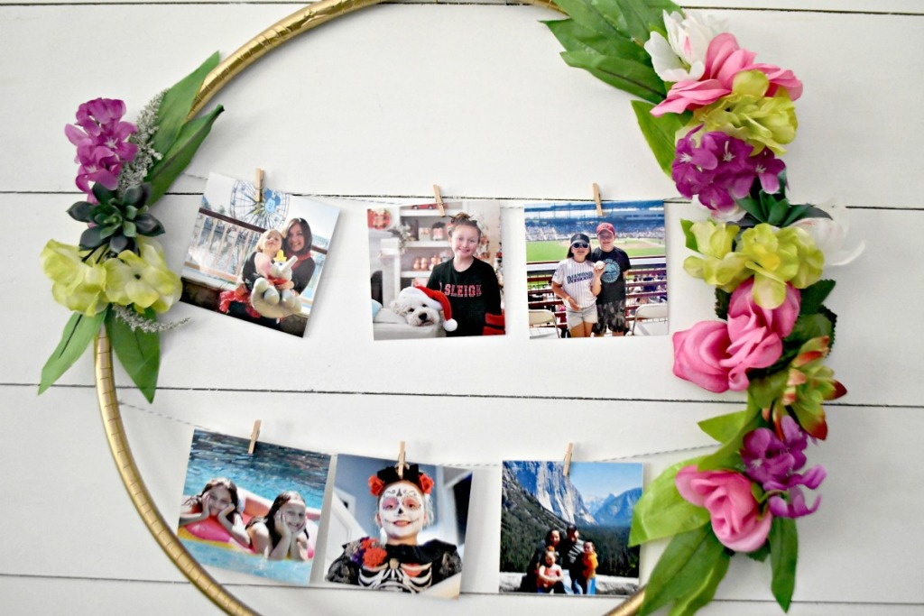 finished hula hoop photo display hanging on white wall