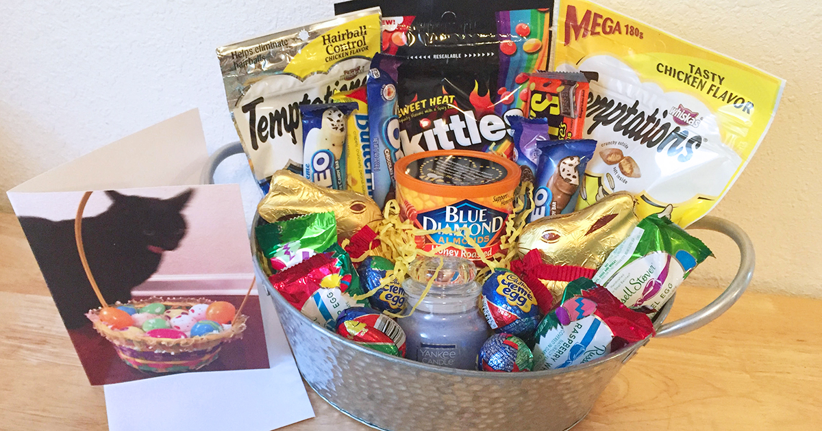 easter basket filled with candy and snacks