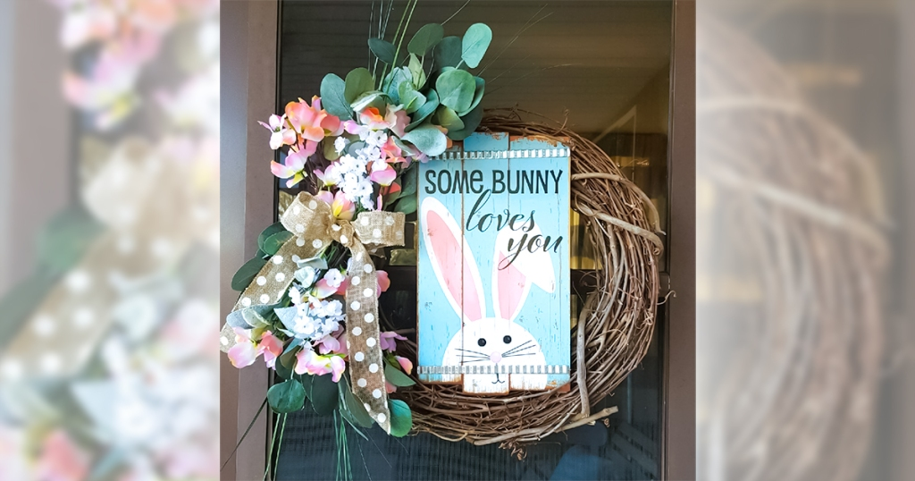 happy friday - Easter sign and faux flowers from dollar tree