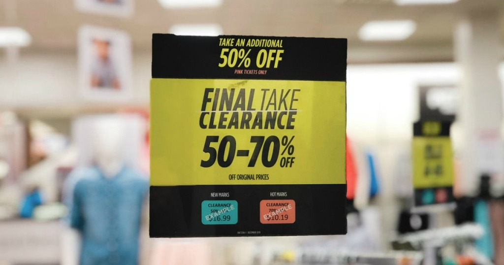 a7dfd74d0ddab Head to your local JCPenney where they are offering an extra 50% off  already low clearance prices on items marked with pink tickets – in store  only.