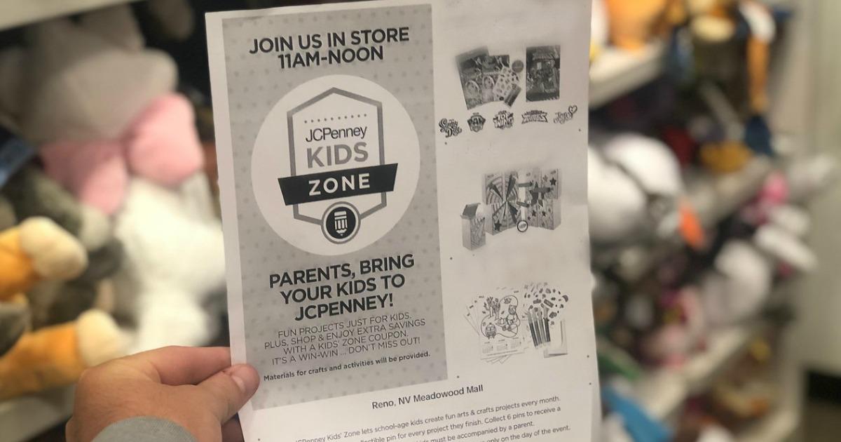holding JCPenney Kids Zone flyer