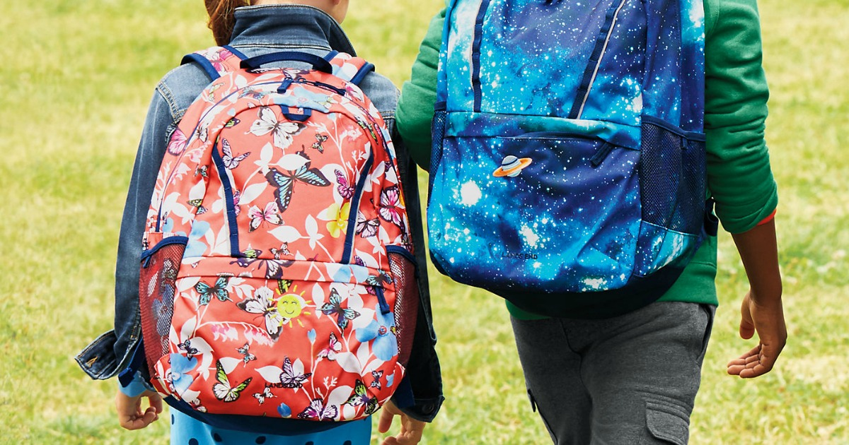 young kids wearing Land's End backpacks