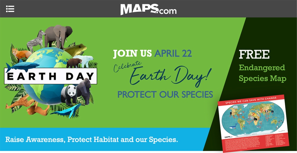 maps.com earth day banner featuring their free printable endangered species map