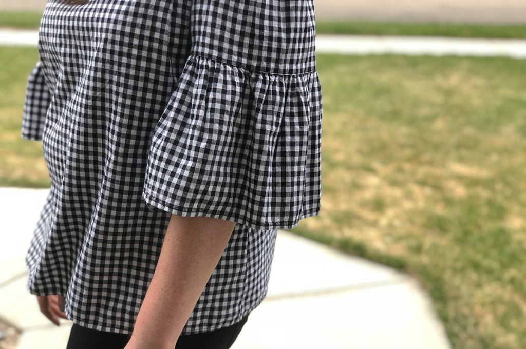 walmart wednesday — close up of michelle's sleeve on black and white blouse