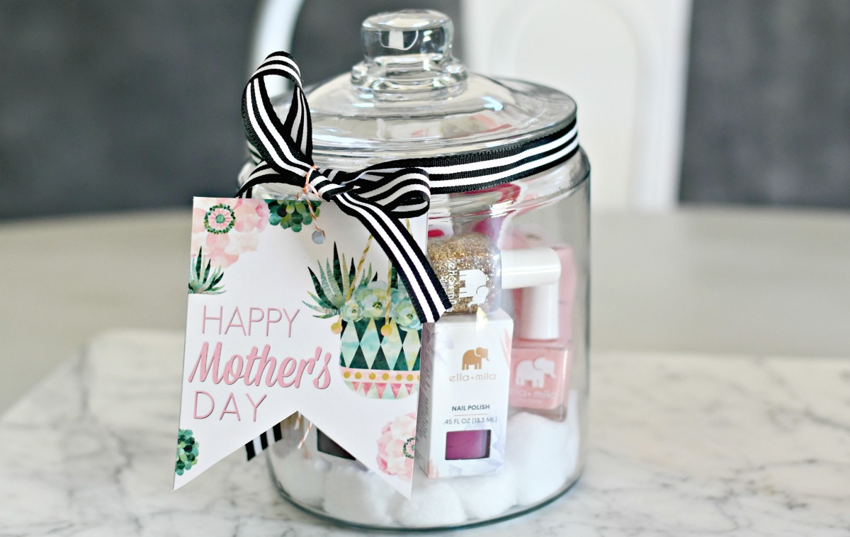 mother's day manicure in a jar supplies gift wrapped with mother's day printables
