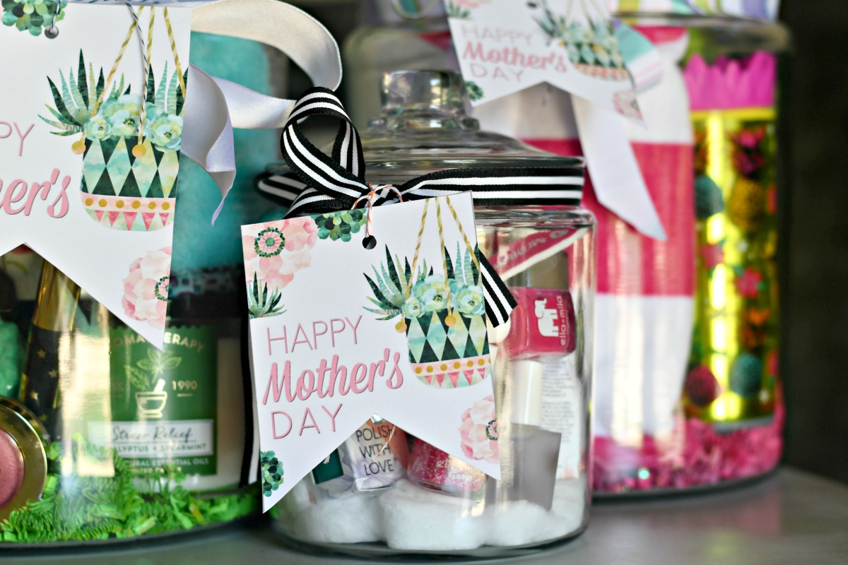 nail polish gift in a jar for mom with mother's day printables