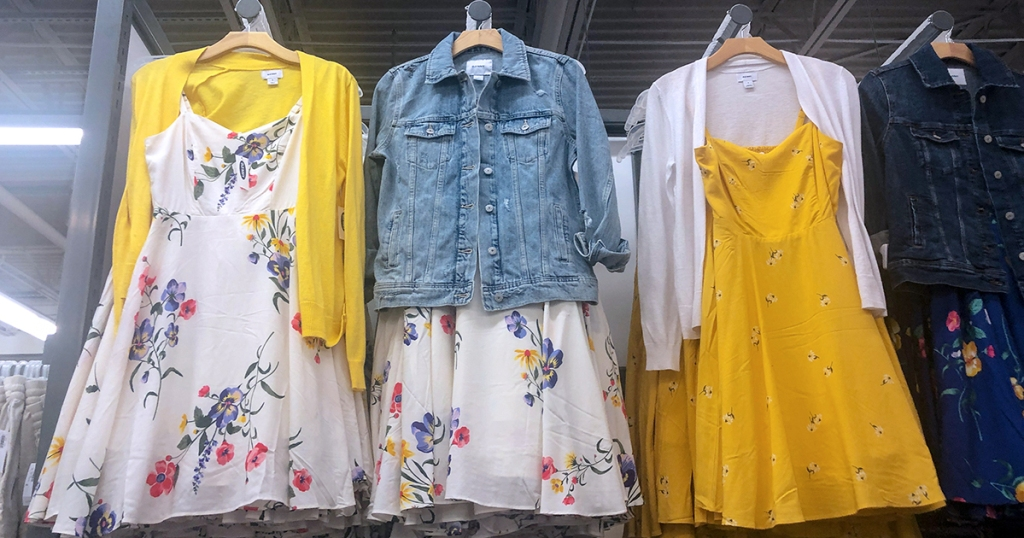 old navy spring capsule wardrobe – spring dresses with cardigans and jackets
