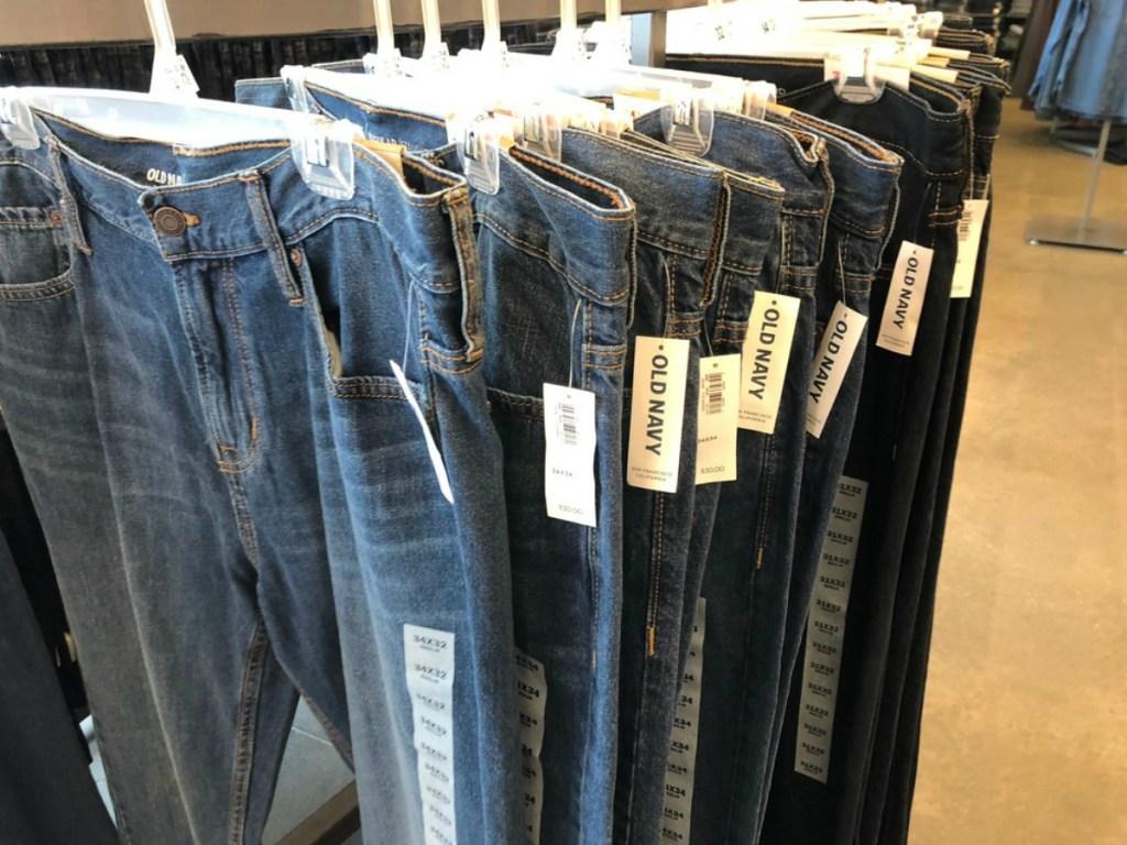 row of Old Navy Men's jeans on hangers