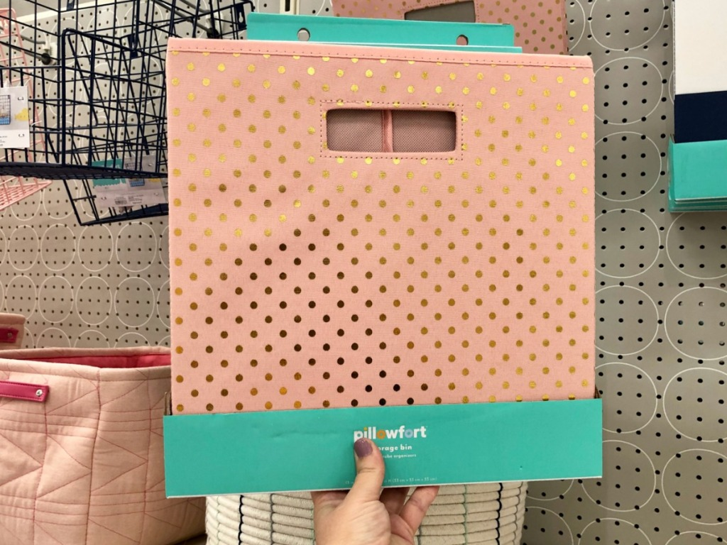 pink with gold polka dot pillowfort storage bin
