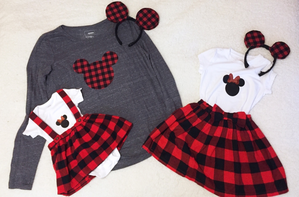 happy friday – red and black plaid matching disney outfits
