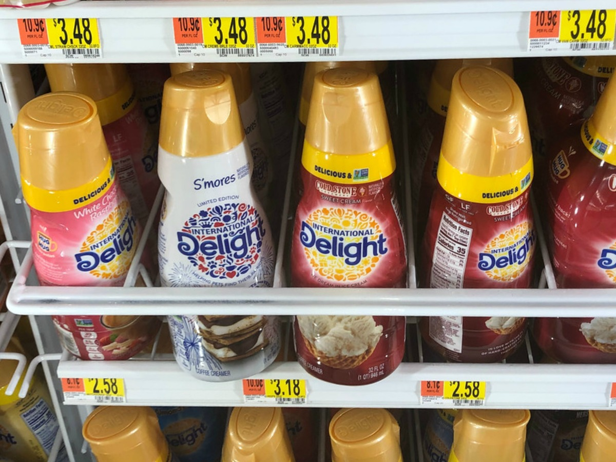 international delight creamers in different flavors at the store