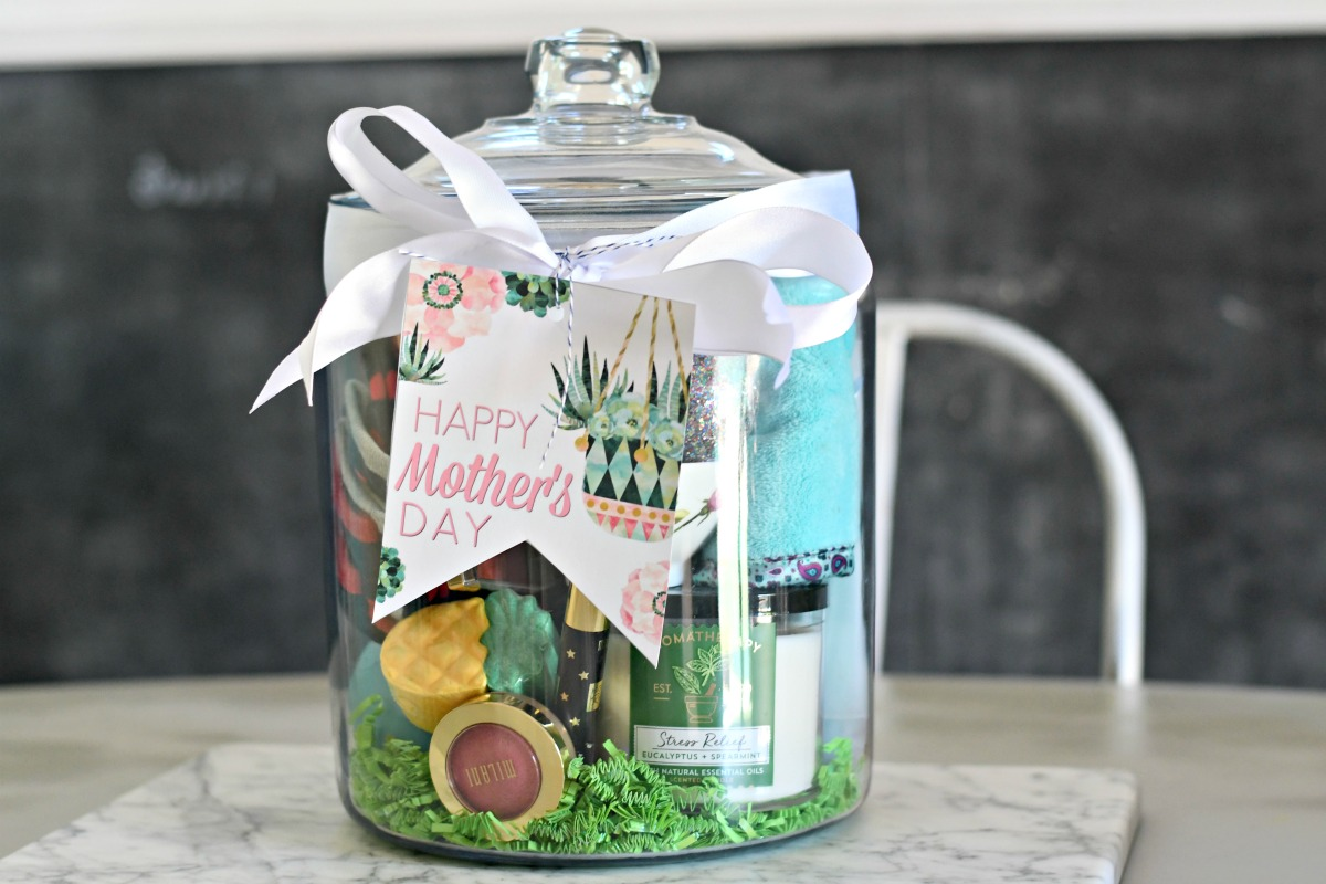 wrapped spa themed gift in a jar for mom with mother's day printables