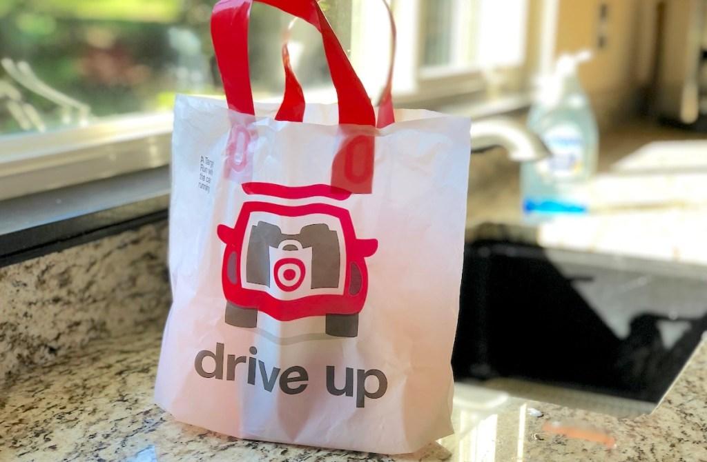 target drive up bag sitting on granite kitchen countertop
