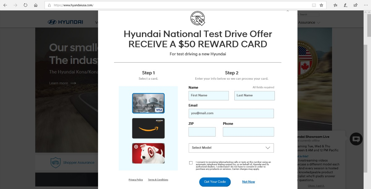 Once You Complete Your Test Drive Ll Receive A Free 50 Target Or Visa Gift Card No Purchase Required There Is Limit Of One Coupon