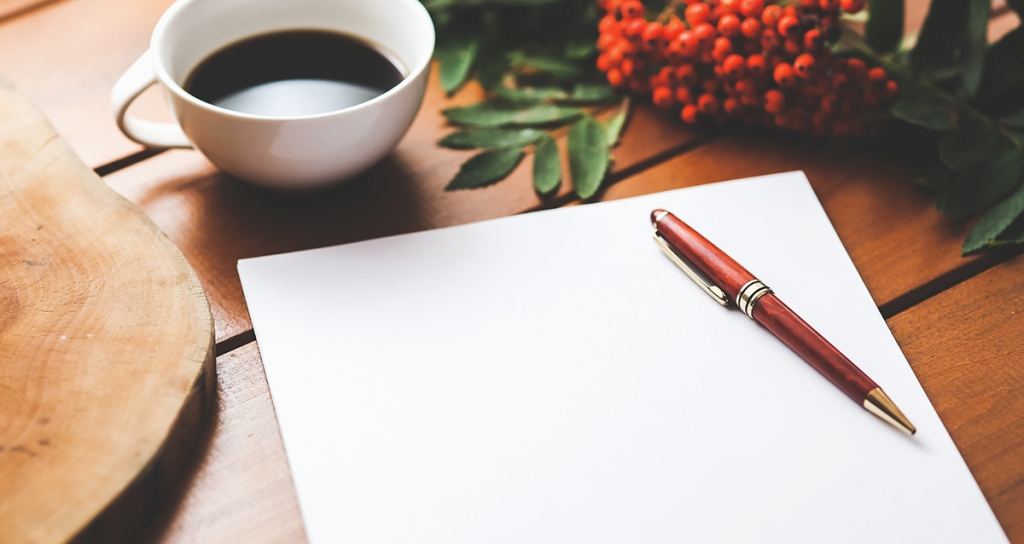blank piece of paper with coffee cup