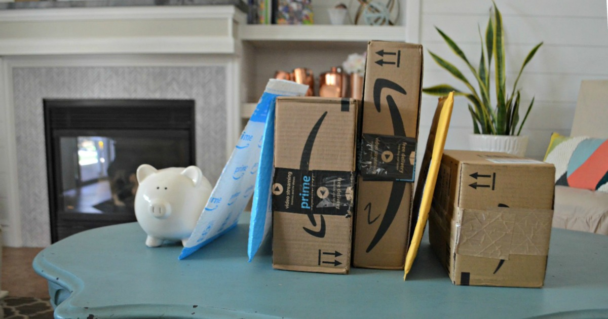 Amazon Prime packages on a table