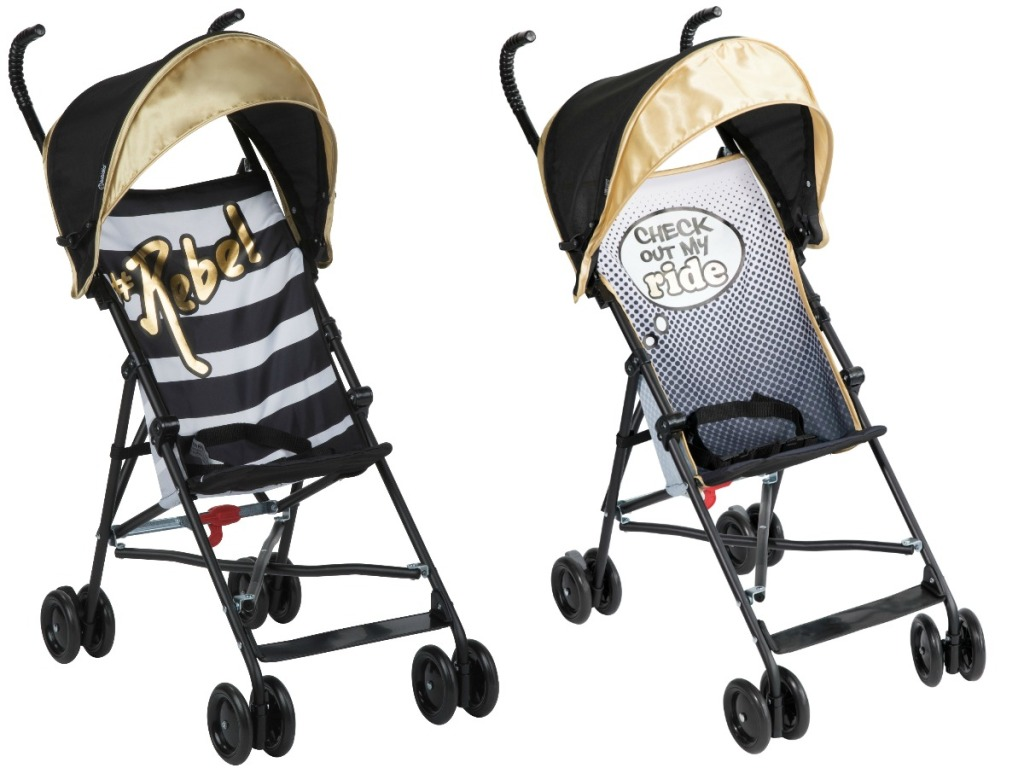 babid baby stroller in black and white stripe or black, white, grey with quotes