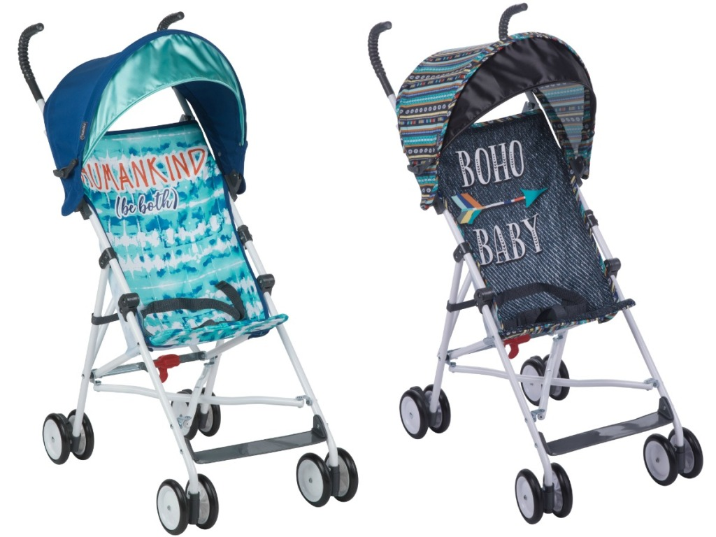 babid baby stroller in light blue and dark blue with quotes