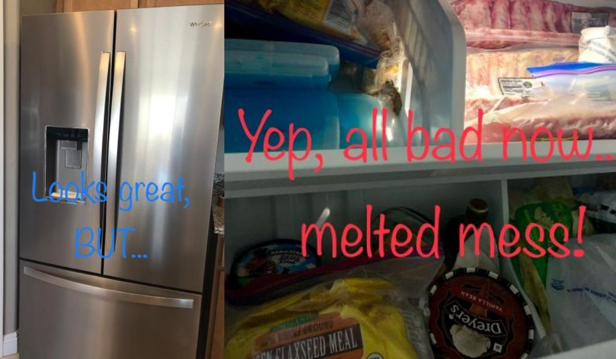 A picture collage of a poorly rated fridge that made food go bad