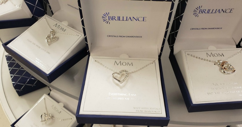 Brilliance Mom Heart Pendant Necklace with Swarovski Crystals