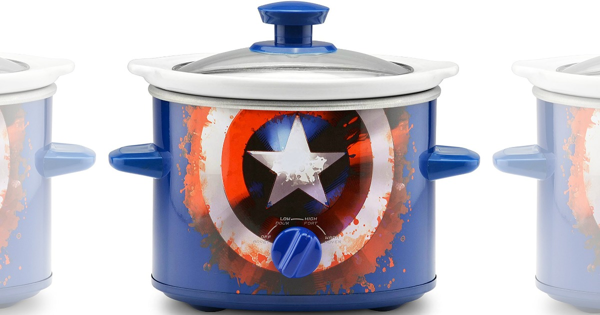 slow cooker featuring captain america shield design