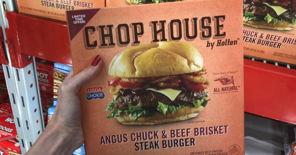 steak burger frozen package at Sam's Club