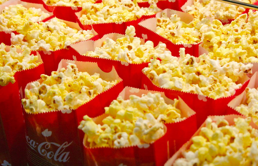 closeup of bags of popcorn