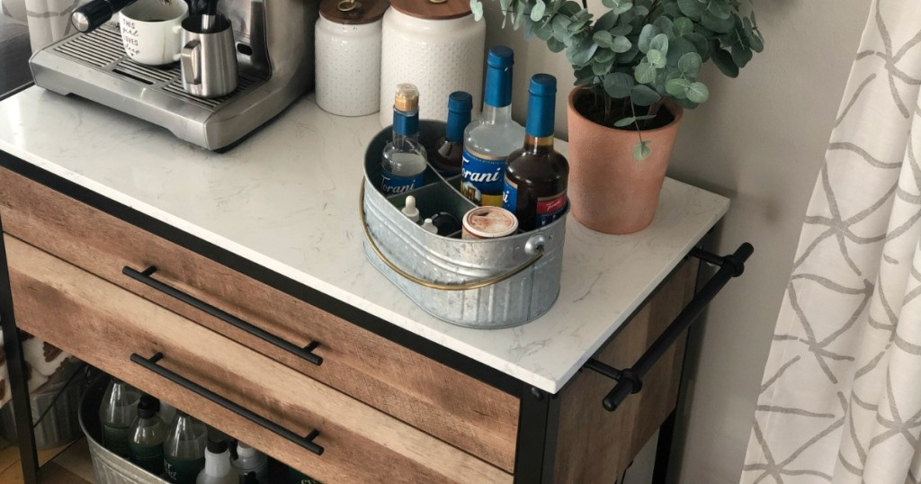 rolling countertop kitchen island with coffee bar