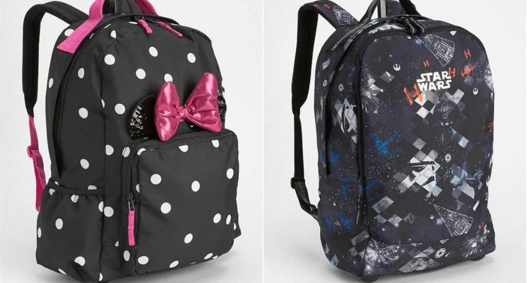 Minnie Mouse rolling backpack with dots and pink bow next to Star Wars black backpack