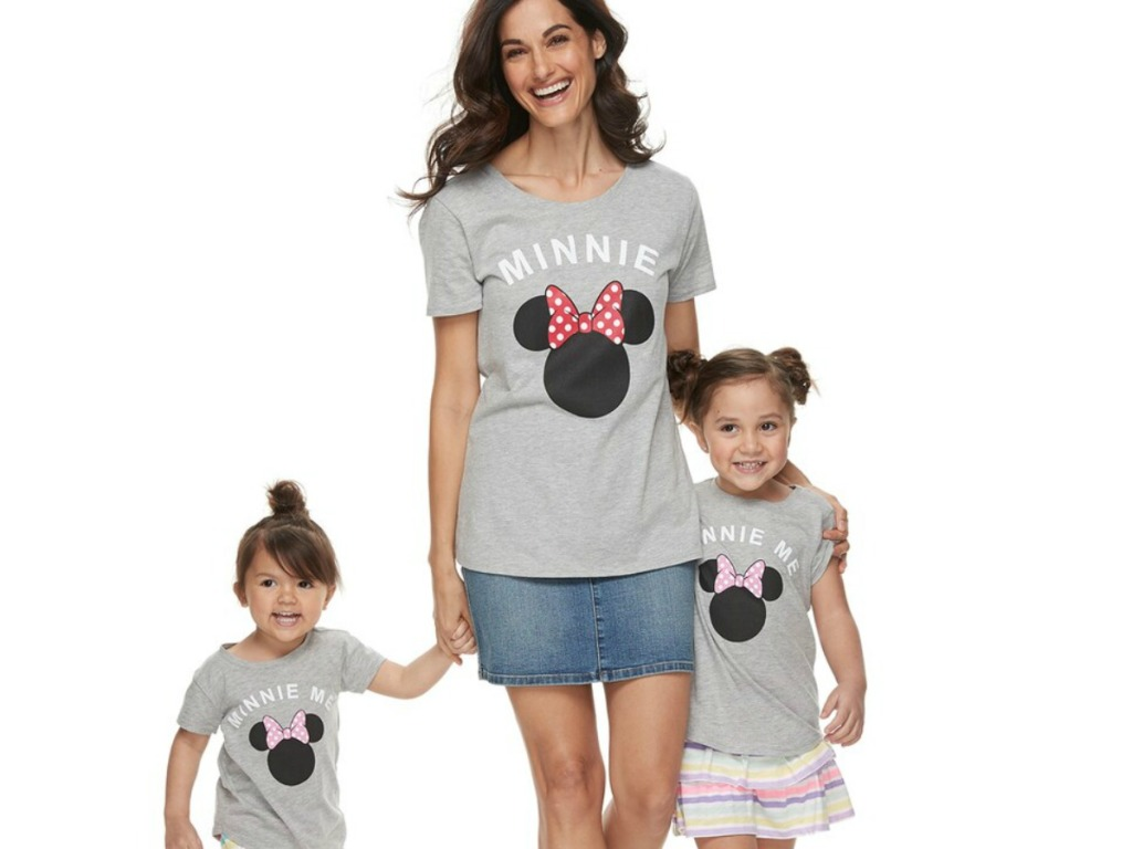 """Woman and two toddler girls wearing Disney's Minnie Mouse Mommy & Me """"Minnie Me"""" Graphic Tees"""