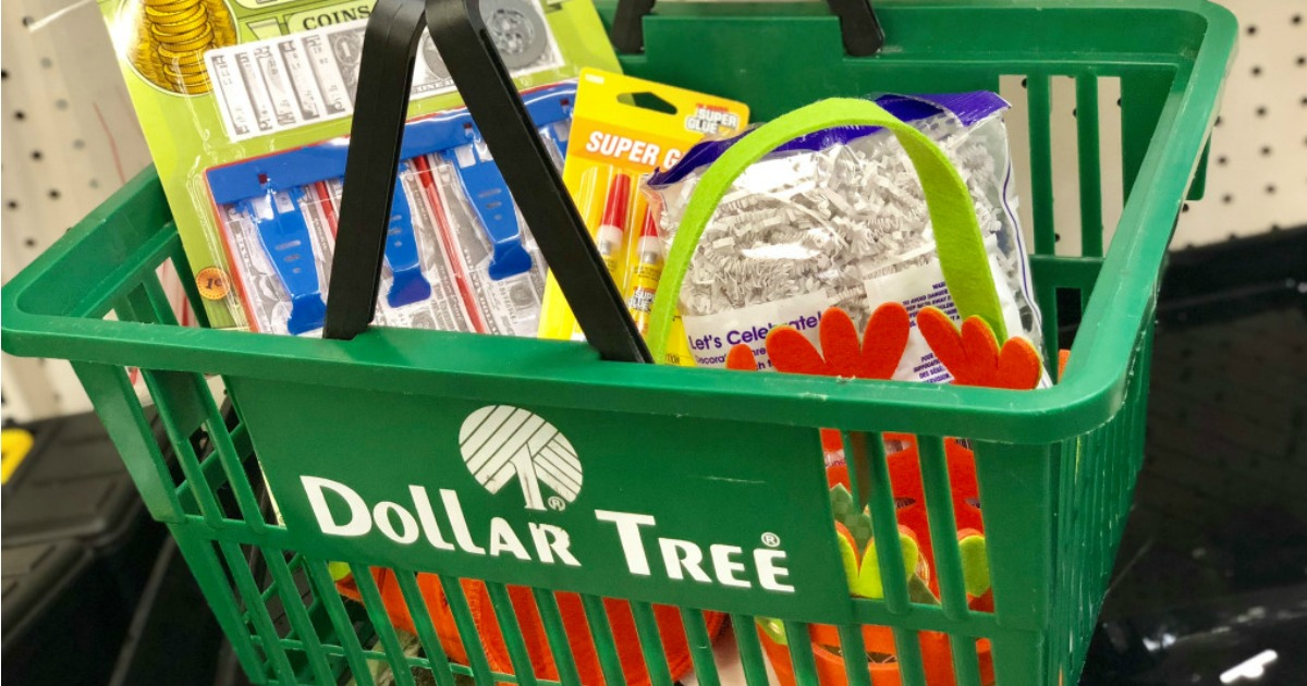 Dollar Tree Basket Filled with Merchandise