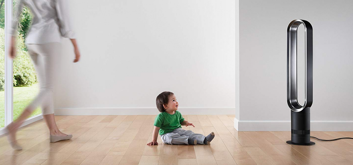 Baby looking at Dyson Mini Bladeless Oscillating Fan