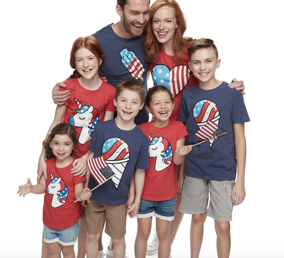family wearing matching 4th of July tees from Kohl's