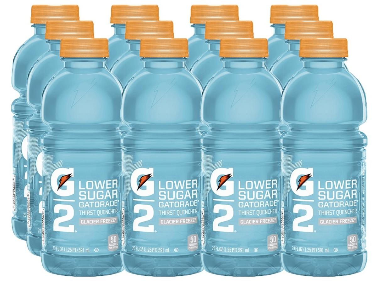 Gatorade G2 Thirst Quencher Glacier Freeze 20 oz Bottles 12 Pack stock image