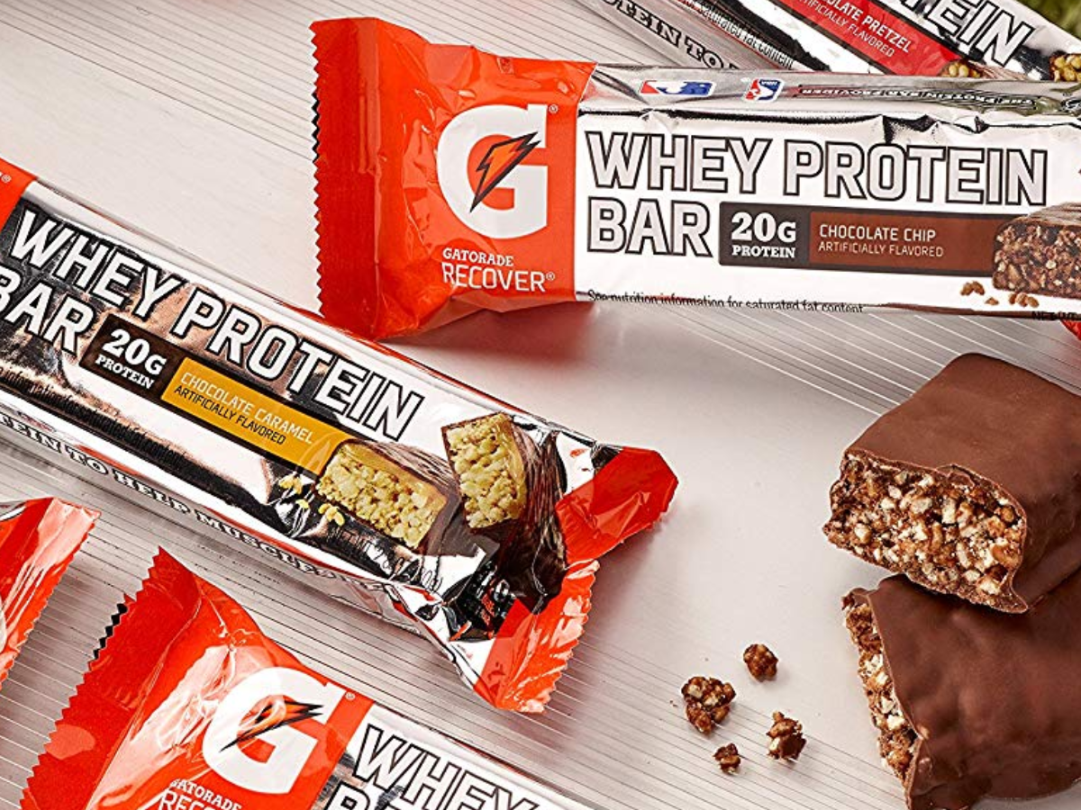 Gatorade Whey Protein Bars with an bar out of package