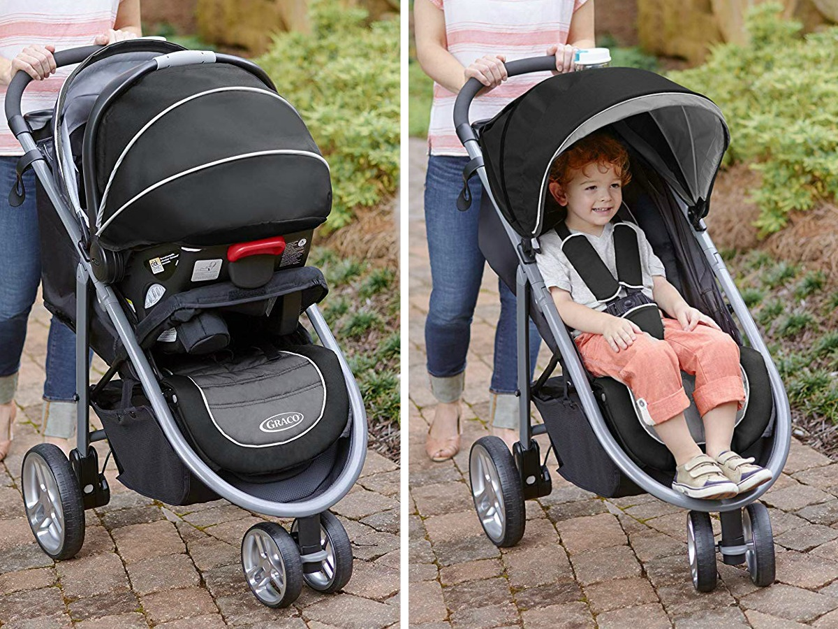 Mother pushing toddler in Graco Aire3 Travel System Stroller
