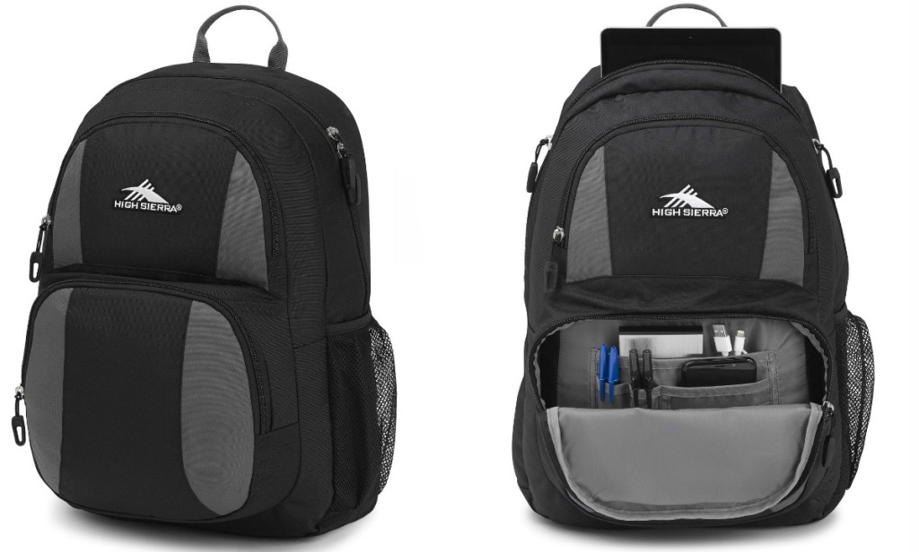 Stock image of High Sierra Pinova Backpack closed and open