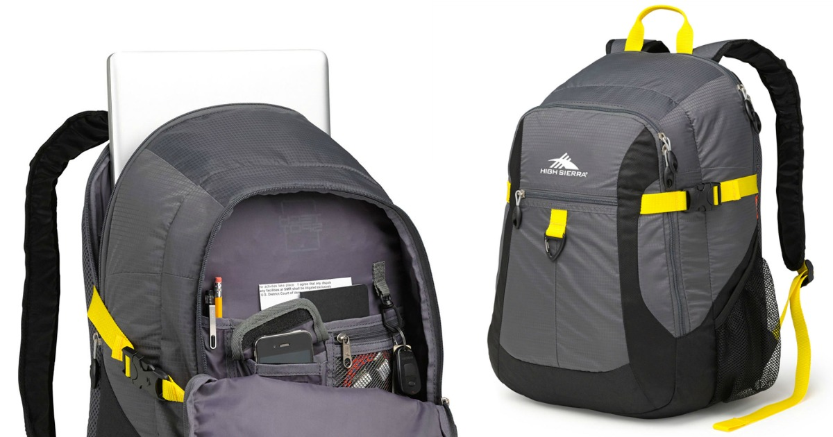 High Sierra Sportour Computer Backpack open and closed position