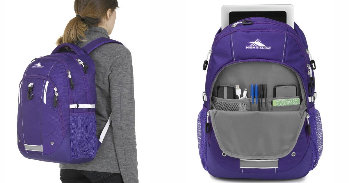 Woman wearing High Sierra Zestar Backpack and open backpack
