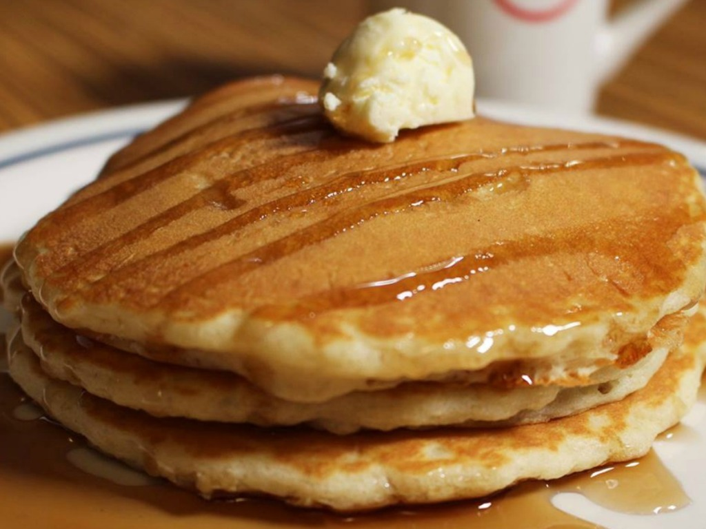 IHOP pancakes with butter and syrup