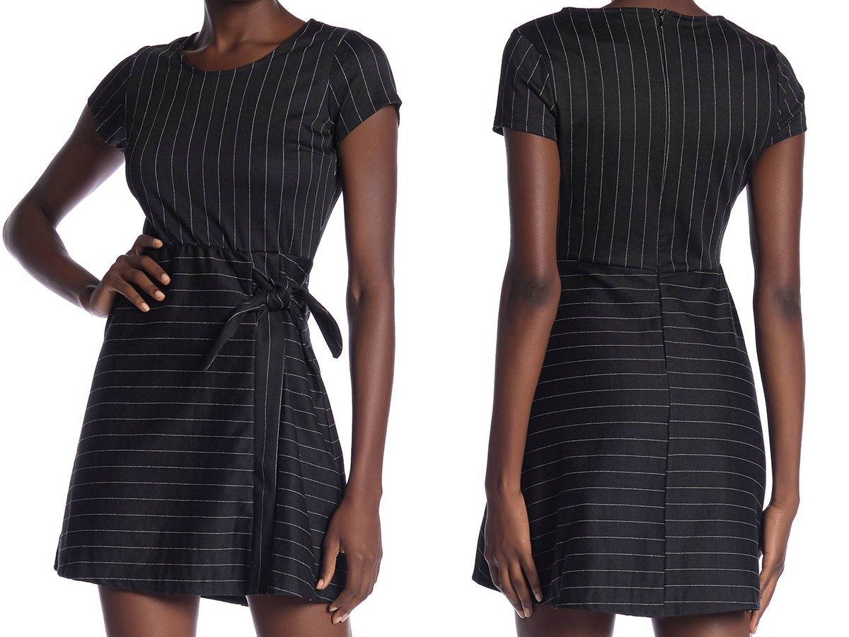 b0c6ee2c8a98 woman wearing a black striped dress front and back view