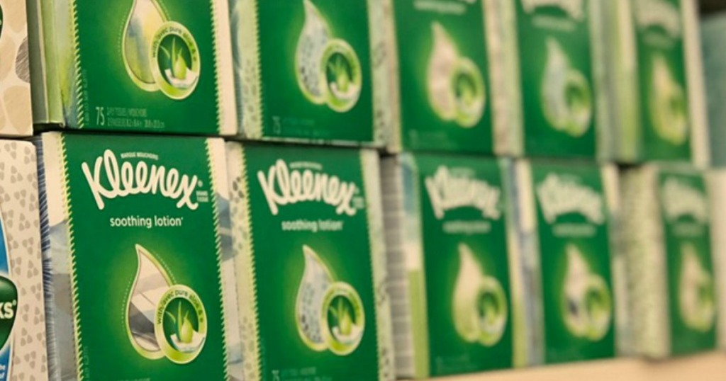 Kleenex with soothing lotion boxes