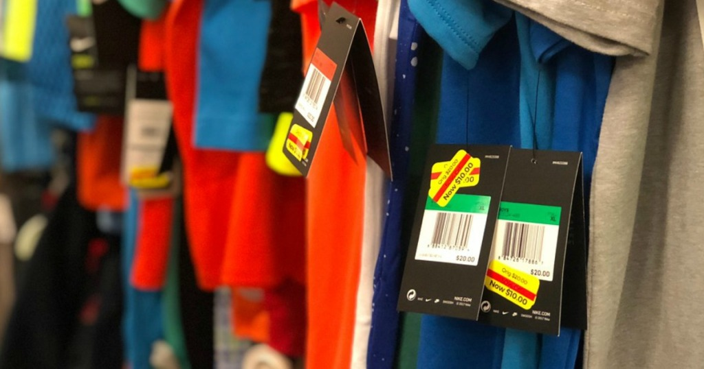apparel with clearance tags