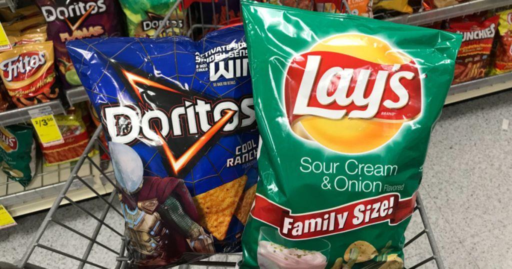 Doritos and Lay's in cart at CVS