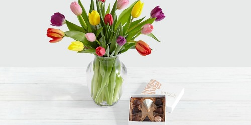 15 Multi-Colored Tulips, Vase, & Chocolates Only $23.97 Delivered + More
