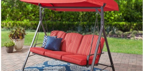 Mainstays Outdoor 3-Seat Cushioned Swing Only $123.75 Shipped (Regularly $223)