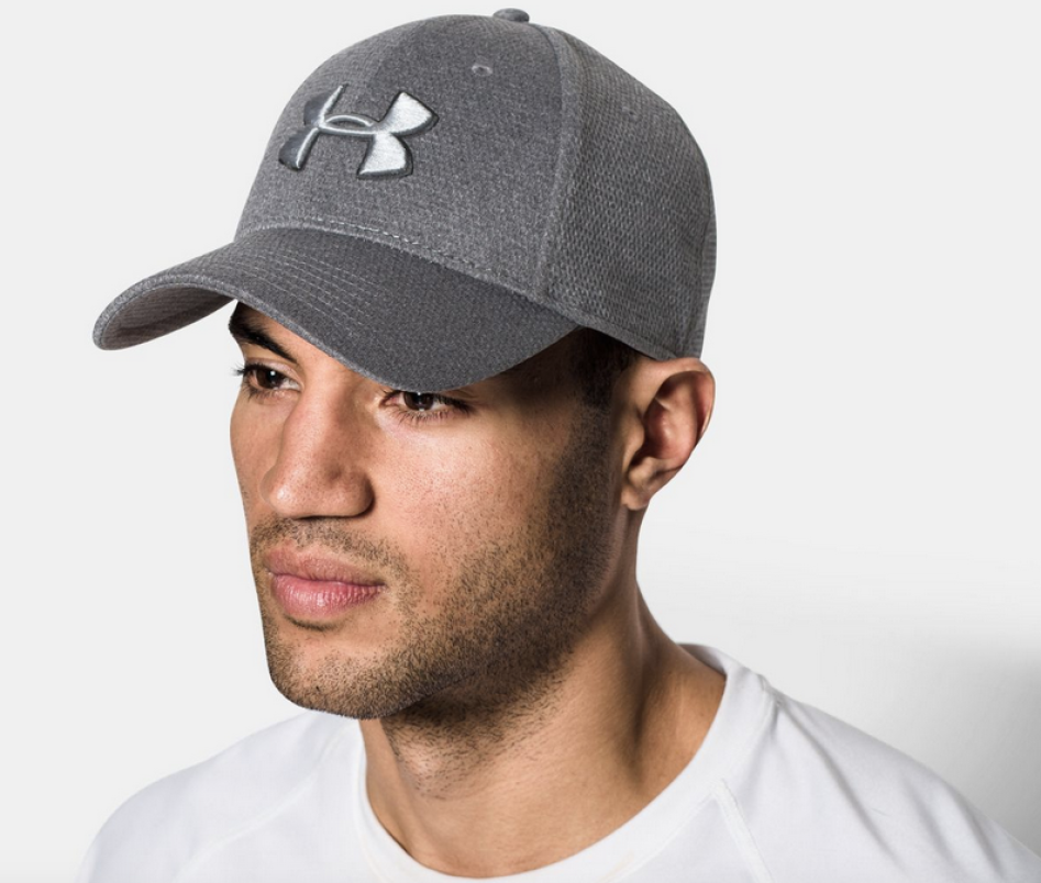Gray Under Armour Logo Hat on male